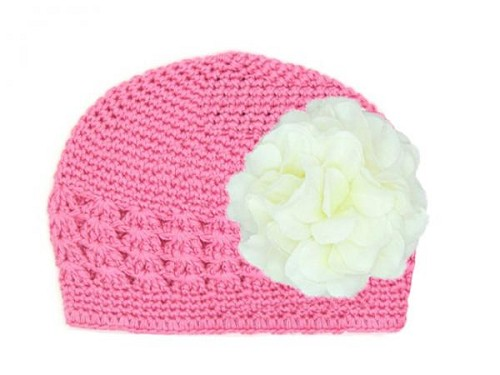 Candy Pink Crochet Hat with White Large Geraniums