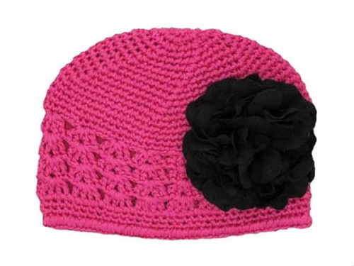 Raspberry Crochet Hat with Black Large Geraniums