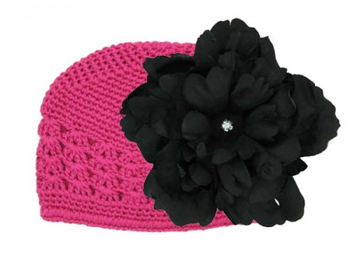 Raspberry Crochet Hat with Black Large Peony