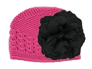 Raspberry Crochet Hat with Black Large Rose