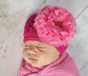 Raspberry Crochet Hat with Candy Pink Lace Rose