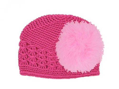 Raspberry Crochet Hat with Candy Pink Large regular Marabou