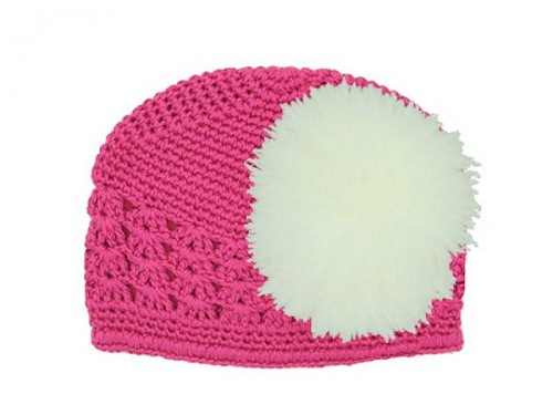 Raspberry Crochet Hat with Cream Large regular Marabou
