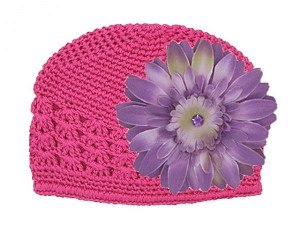 Raspberry Crochet Hat with Lavender Daisy