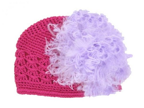 Raspberry Crochet Hat with Lavender Large Curly Marabou