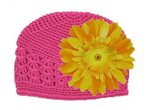 Raspberry Crochet Hat with Marigold Daisy