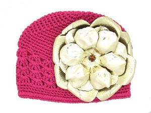 Raspberry Crochet Hat with Metallic Gold Rose