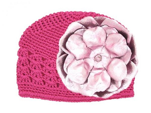 Raspberry Crochet Hat with Metallic Pale Pink Rose