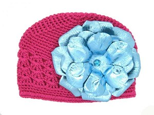 Raspberry Crochet Hat with Metallic Teal Rose