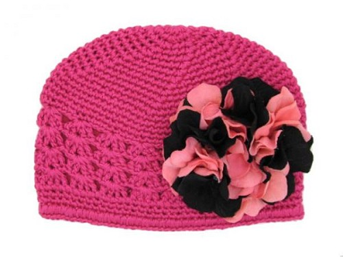 Raspberry Crochet Hat with Pink Black Large Geraniums