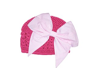 Raspberry Crochet Hat with Pale Pink Bow-Rae-Mi