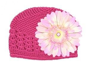 Raspberry Crochet Hat with Pale Pink Daisy