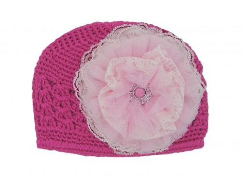 Raspberry Crochet Hat with Pale Pink Lace Rose