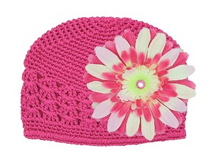 Raspberry Crochet Hat with Pink Raspberry Daisy