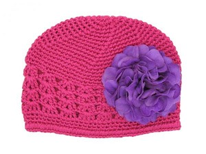 Raspberry Crochet Hat with Purple Large Geraniums