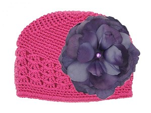 Raspberry Crochet Hat with Purple Large Rose