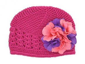 Raspberry Crochet Hat with Purple Pink Large Geraniums