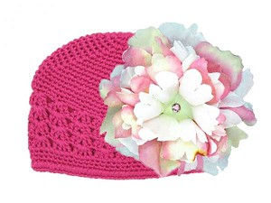 Raspberry Crochet Hat with Pink White Large Peony