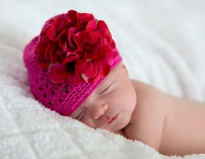 Raspberry Crochet Hat with Raspberry Large Geraniums