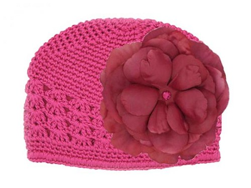 Raspberry Crochet Hat with Raspberry Large Rose