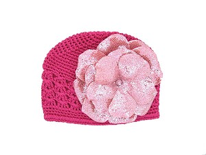 Raspberry Crochet Hat with Sequins Pale Pink Rose