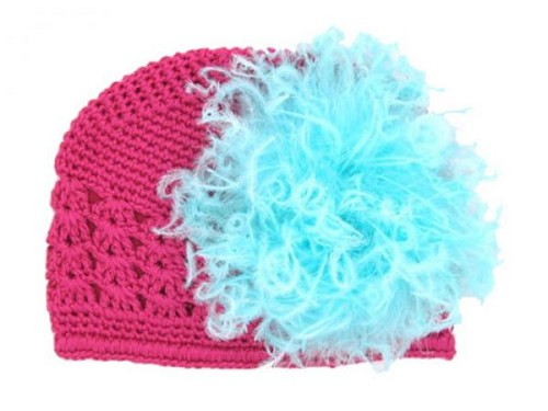 Raspberry Crochet Hat with Teal Large Curly Marabou