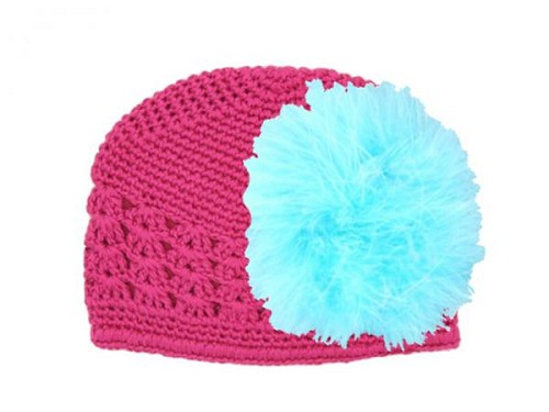 Raspberry Crochet Hat with Teal Large regular Marabou