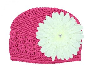 Raspberry Crochet Hat with White Daisy