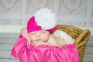 Raspberry Crochet Hat with White Lace Rose