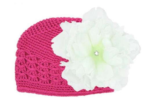 Raspberry Crochet Hat with White Large Peony