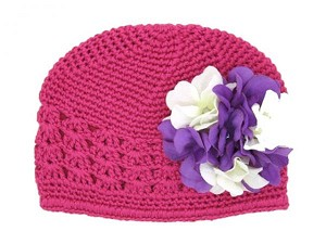 Raspberry Crochet Hat with White Purple Large Geraniums