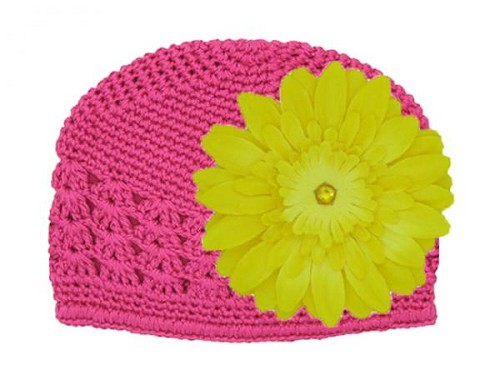 Raspberry Crochet Hat with Yellow Daisy