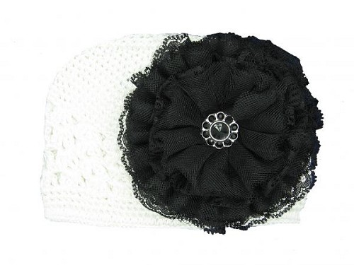 White Crochet Hat with Black Lace Rose