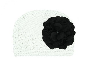 White Crochet Hat with Black Large Geraniums
