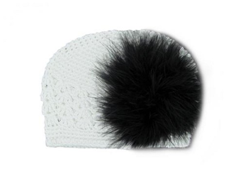 White Crochet Hat with Black Large regular Marabou