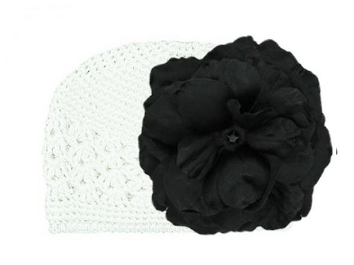 White Crochet Hat with Black Large Rose