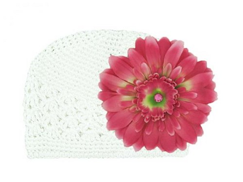 White Crochet Hat with Candy Pink Daisy