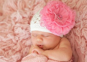 White Crochet Hat with Candy Pink Lace Rose
