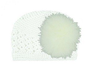 White Crochet Hat with Cream Large regular Marabou