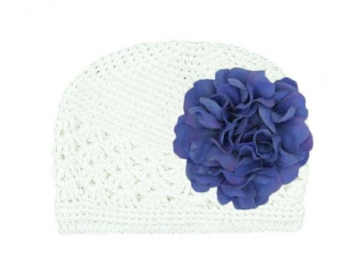 White Crochet Hat with Lavender Large Geraniums