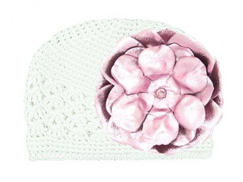 White Crochet Hat with Metallic Pale Pink Rose