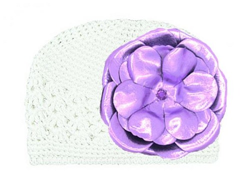 White Crochet Hat with Metallic Purple Rose