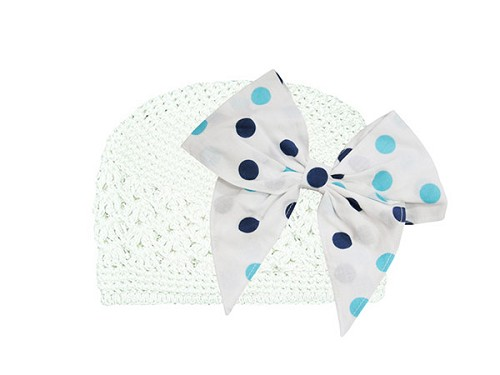 White Crochet Hat with Navy Blue Dot Bow-Rae-Mi