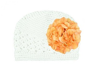 White Crochet Hat with Orange Large Geraniums