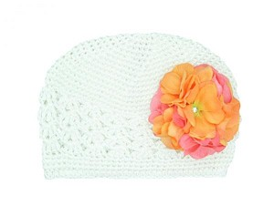 White Crochet Hat with Orange Pink Large Geraniums