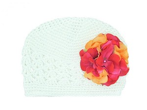 White Crochet Hat with Orange Raspberry Large Geraniums