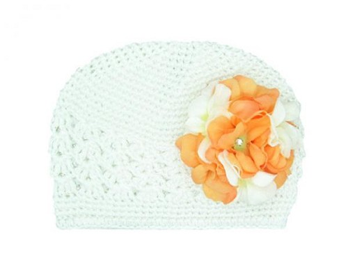White Crochet Hat with Orange White Large Geraniums