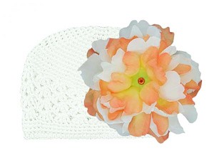 White Crochet Hat with Orange White Large Peony