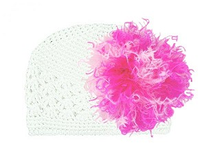 White Crochet Hat with Pink Raspberry Large Curly Marabou