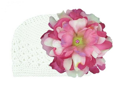 White Crochet Hat with Pink Raspberry Large Peony